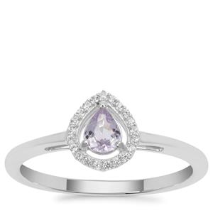 Cuprian Tourmaline Ring with White Zircon in Sterling Silver 0.37ct