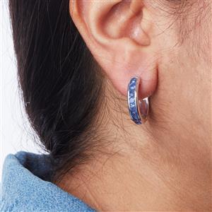 Halo Sapphire Hoop Earrings in Sterling Silver