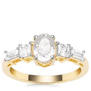 Singida Tanzanian Zircon Ring with White Zircon in 9K Gold 2.14cts