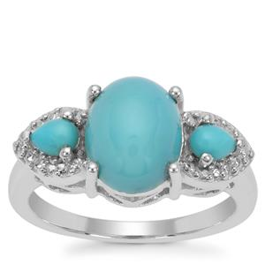 Sleeping Beauty Turquoise Ring in Sterling Silver 2.61cts