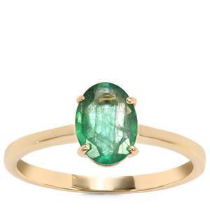 Zambian Emerald Ring in 10K Gold 0.97ct