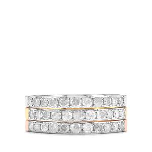 Diamond Set of 3 Stacker Rings in Sterling Silver 1ct