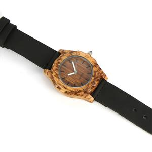 Black Spinel Zebrawood Black Genuine Leather Strap Watch