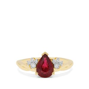 Nigerian Rubellite Ring with Diamond in 18K Gold 1.32cts