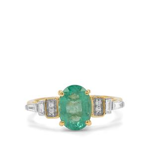 Ethiopian Emerald Ring with Diamond in 18K Gold 2.09cts