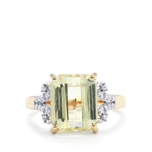 Canary Kunzite & Diamond 18K Gold Lorique Ring MTGW 5.69cts