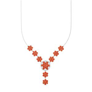 Nampula Garnet & White Topaz Sterling Silver Necklace ATGW 11.14cts
