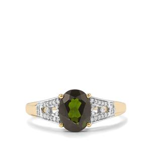Chrome Diopside Ring with Diamond in 10K Gold 1.34cts