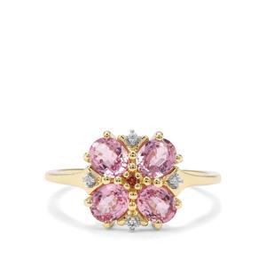 Sakaraha Pink Sapphire, Pink Tourmaline & White Zircon 9K Gold Ring ATGW 1.78cts