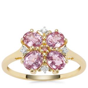 Sakaraha Pink Sapphire, Pink Tourmaline Ring with White Zircon in 9K Gold 1.78cts