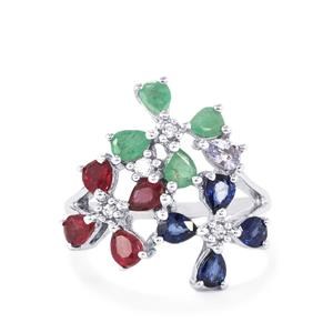2.61ct Gemstone Bouquet in Sterling Silver Ring