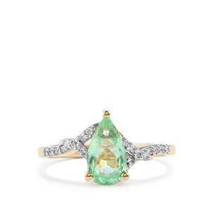 Paraiba Tourmaline Ring with Diamond in 18K Gold 1.21cts