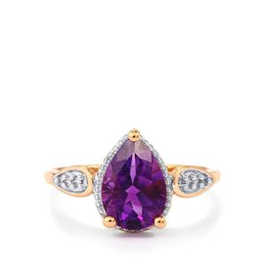 Moroccan Amethyst & White Zircon 9K Rose Gold Ring ATGW 1.79cts