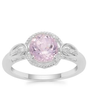 Natural Brazilian Kunzite Ring with Diamond in Sterling Silver 2.17cts