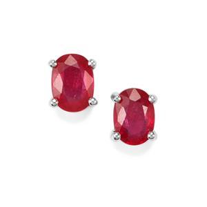 Burmese Ruby Earrings in Sterling Silver 2.06cts (F)