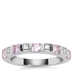 Rose De France Amethyst Ring with White Zircon in Sterling Silver 0.78cts
