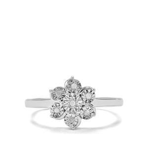 'Alba Rose' Diamond Sterling Silver Halo Diamonds Ring