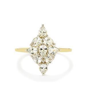 1.62ct Ceylon White Sapphire 9K Gold Ring