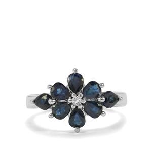 Australian Blue Sapphire & White Topaz Sterling Silver Ring ATGW 2.14cts