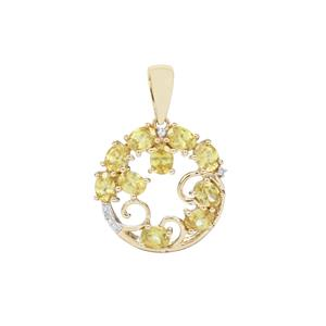 Sambava Sphene Pendant with Diamond in 9K Gold 1.92cts