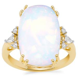 Ethiopian Opal Ring with Diamond in 18K Gold 6.95cts