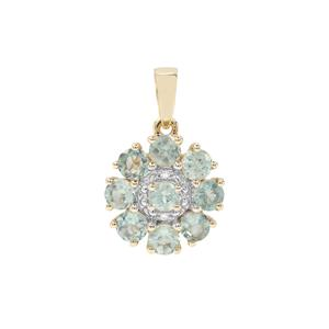 Alexandrite Pendant with Diamond in 9K Gold 1.70cts