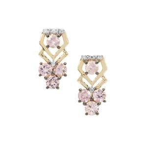 Pink Spinel Earrings with Diamond in 9K Gold 1.28cts