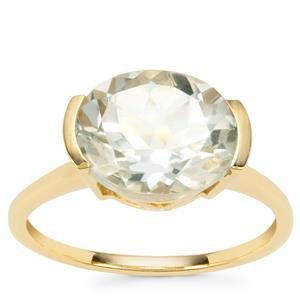 Prasiolite Ring in Gold Plated Sterling Silver 3.11cts
