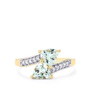 Pedra Azul Aquamarine & White Zircon 10K Gold Ring ATGW 1.41cts