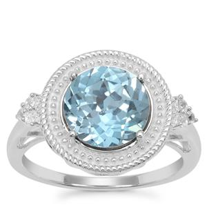 Versailles Topaz Ring with White Zircon in Sterling Silver 3.50cts