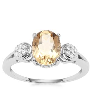 Bolivian Natural Champagne Quartz Ring with White Zircon in Sterling Silver 1.65cts