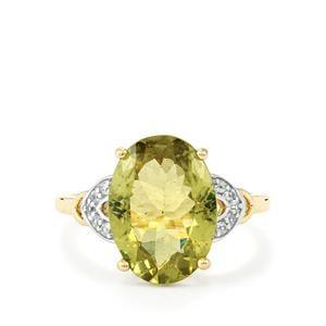 Ilakaka Natural Green Apatite & White Zircon 9K Gold Ring ATGW 5.38cts