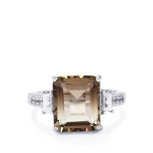 Bi-Colour Smokey Quartz Ring with White Zircon in Sterling Silver 6.53cts