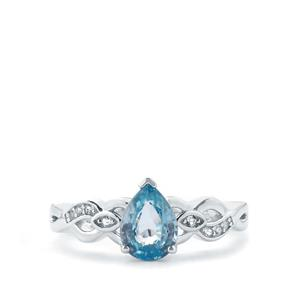 Ratanakiri Blue Zircon & White Topaz Sterling Silver Ring ATGW 1.83cts