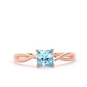 Ratanakiri Blue Zircon Ring in 9K Rose Gold 1cts