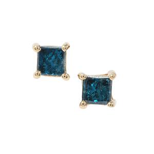 1/4ct Blue Diamond 9K Gold Earrings