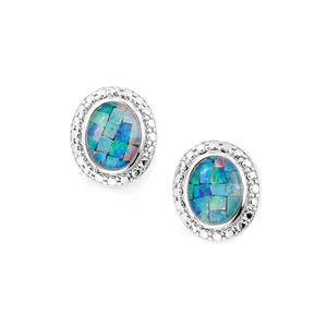 Mosaic Opal Earrings in Sterling Silver (10 x 8mm)