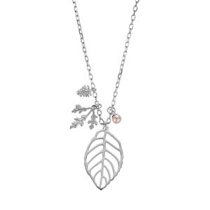 Kaori Cultured Pearl Sterling Silver Leaf Pine Cone Slider Necklace (5mm)