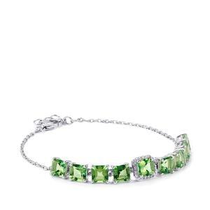 Fern Green Quartz & White Topaz Sterling Silver Asscher Cut Bracelet ATGW 9.78cts