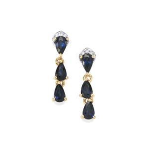 Australian Blue Sapphire Earrings with Diamond in 10K Gold 1.48cts
