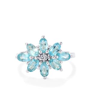 Madagascan Blue Apatite & White Topaz Sterling Silver Ring ATGW 2.07cts