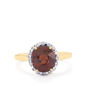 Color Change Garnet Ring with Diamond in 18k Gold 4.42cts