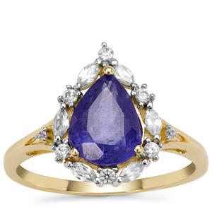 Tanzanite Ring with White Zircon in 9K Gold 2.43cts