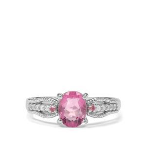 Natural Pink Fluorite, Kaffe Tourmaline & White Zircon Sterling Silver Ring ATGW 1.68cts