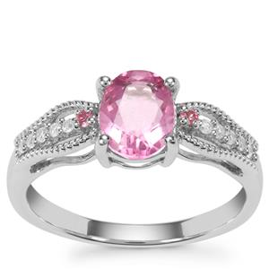 Natural Pink Fluorite, Kaffe Tourmaline Ring with White Zircon in Sterling Silver 1.68cts