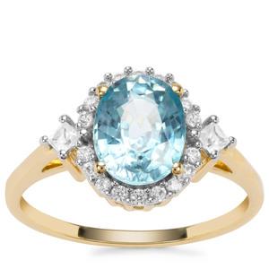 Ratanakiri Blue Zircon Ring with White Zircon in 9K Gold 3.15cts