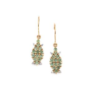 Alexandrite Earrings with Diamond in 9K Gold 1.04cts