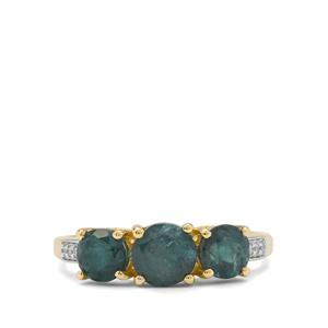 Grandidierite Ring with White Zircon in 9K Gold 1.90cts