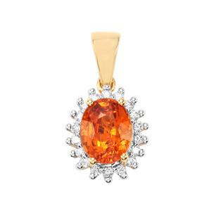 Mandarin Garnet & Diamond 18K Gold Tomas Rae Pendant MTGW 3.05cts
