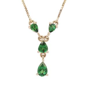 Tsavorite Garnet Necklace in 9K Gold 1cts